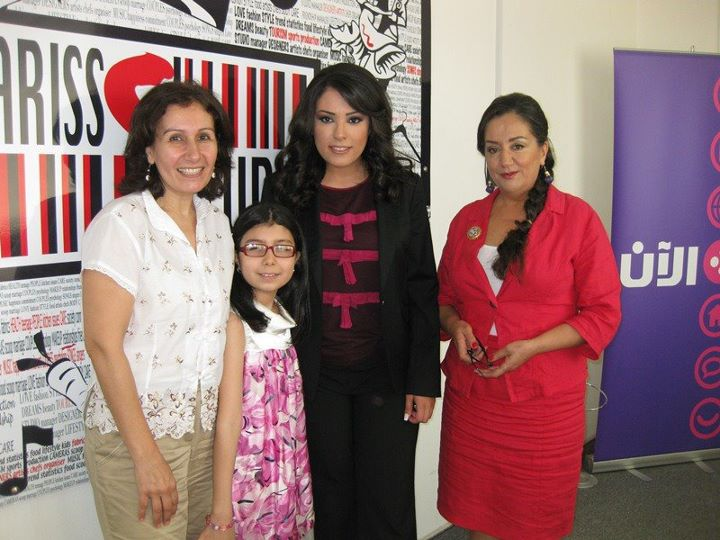 Mme Hamze, young writer Sirine Hamze, Elle Fersan and Poet Izabelle Kesserwany on Al-An TV set